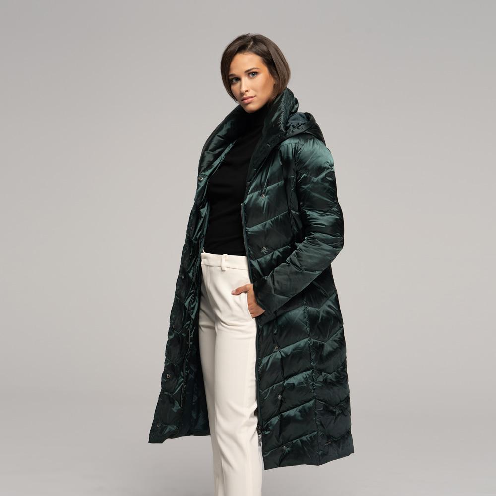 Puchowy zielony płaszcz damski