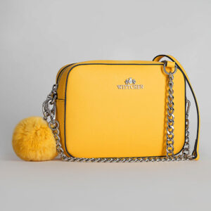 Кожаная сумочка с помпоном