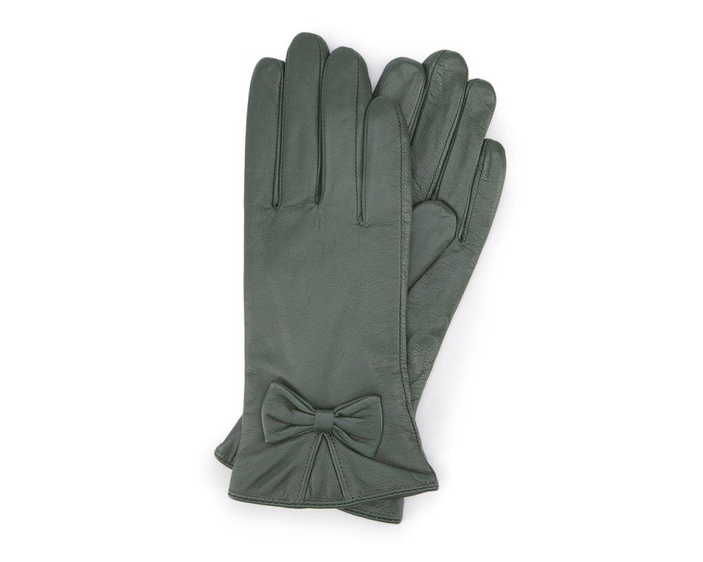 Skórzane rękawiczki z kokardką