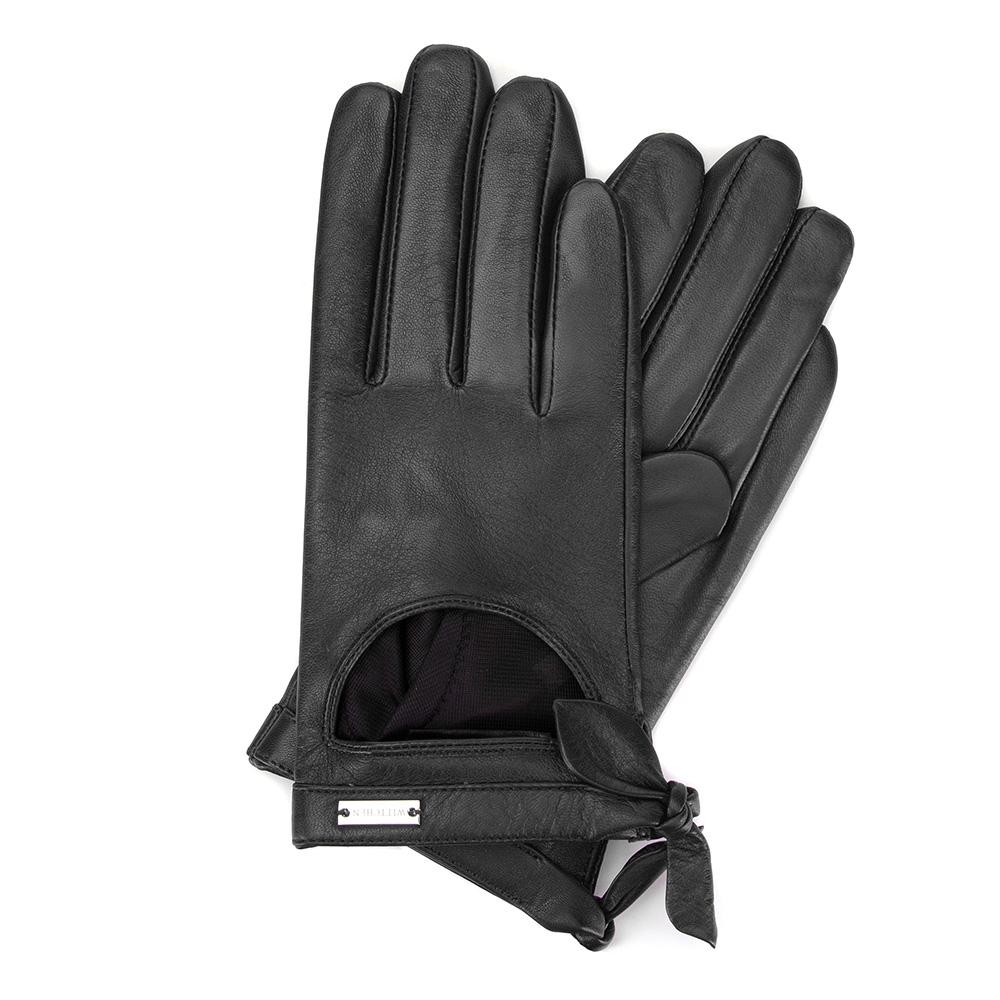 Damskie rękawiczki skórzane z wycięciem