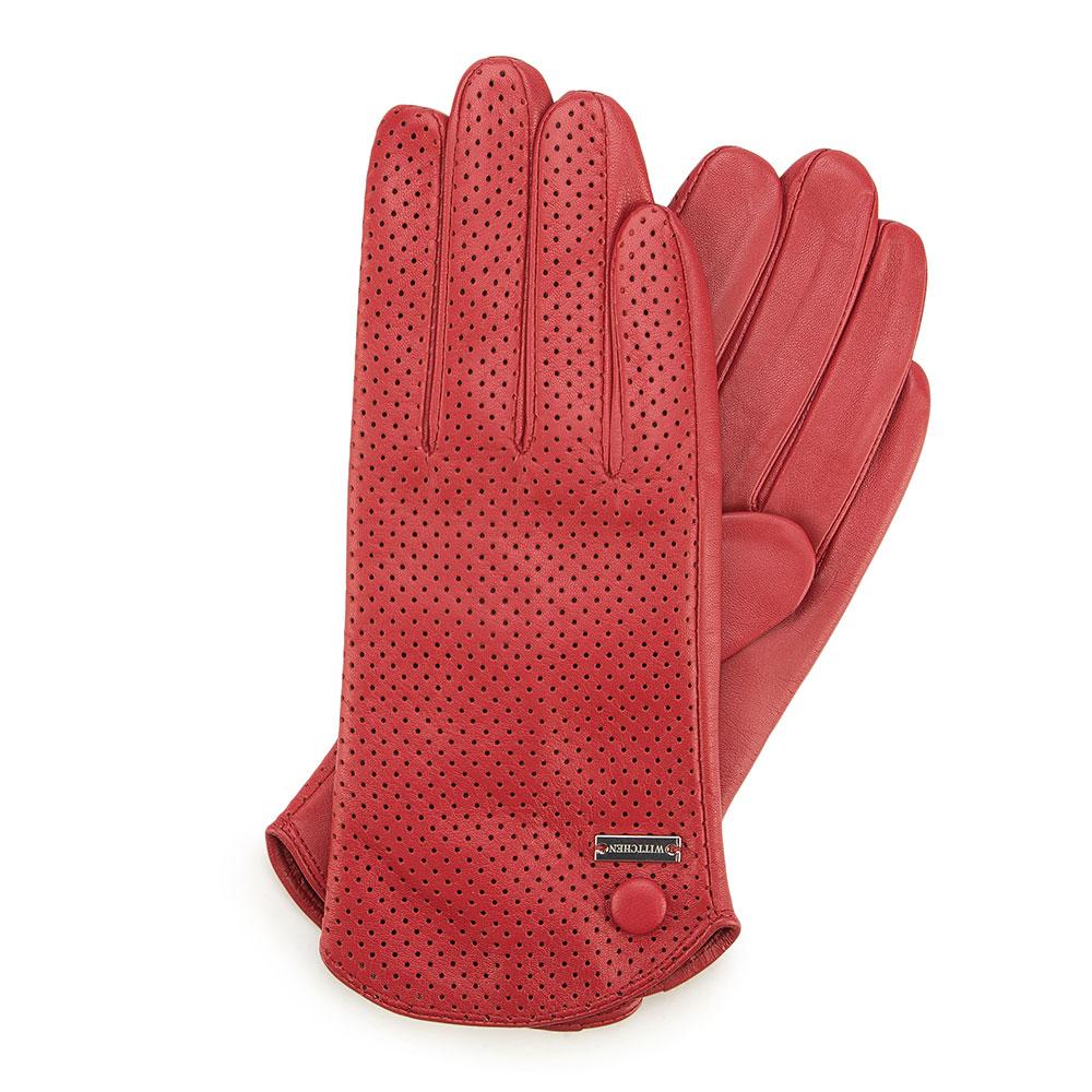Czerwone dziurkowane rękawiczki