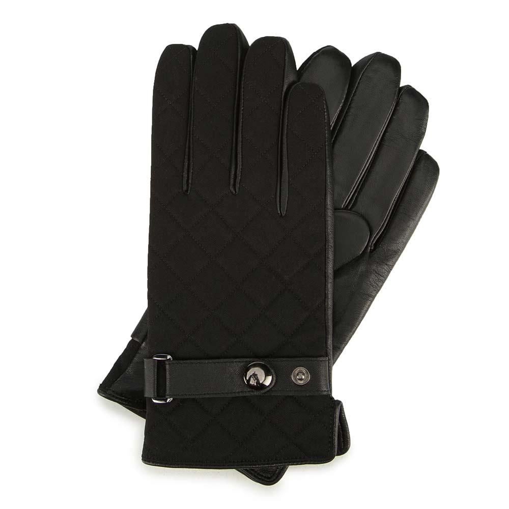 Męskie pikowane rękawiczki ze skóry