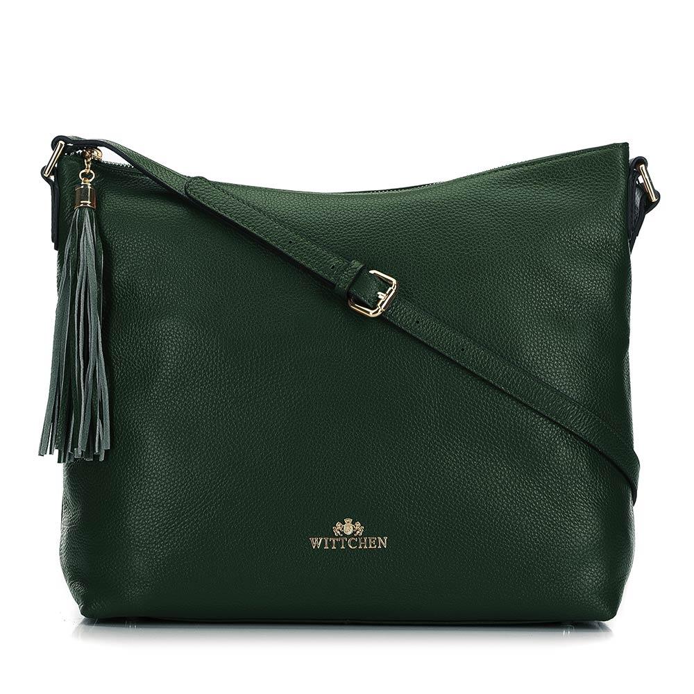 Duża zielona torba ze skóry