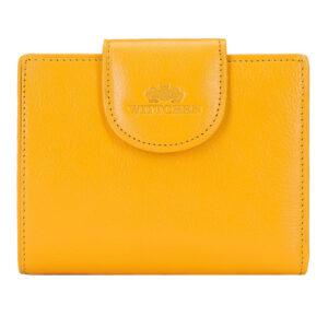 Żółty damski portfel ze skóry