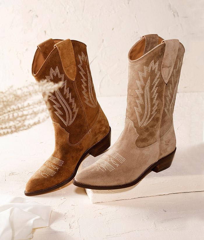 Komfort im Western-Style: Cowboy-Stiefelette aus Veloursleder
