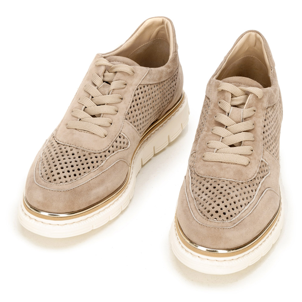 Damskie sneakersy z zamszu perforowane