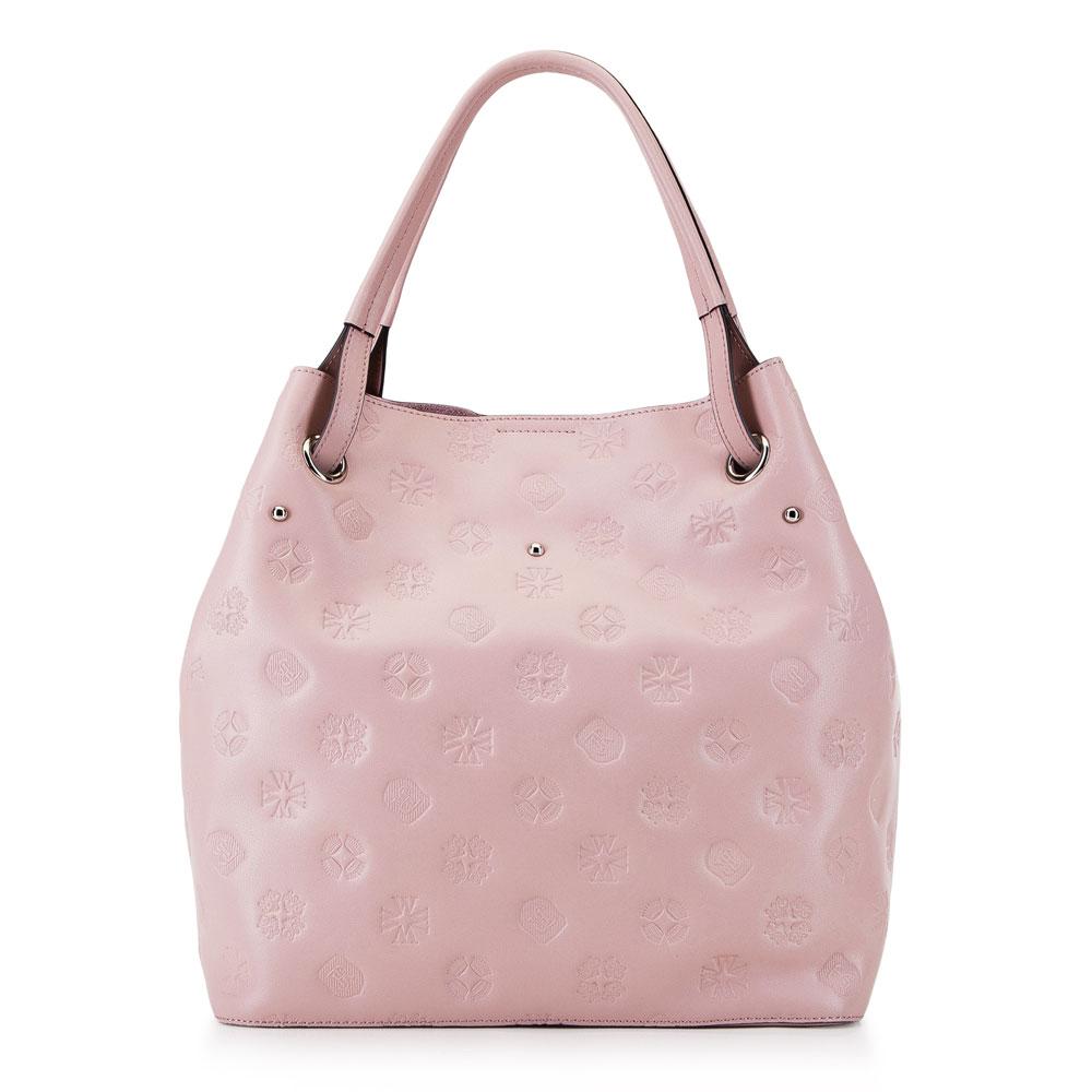 Różowa skórzana torebka worek