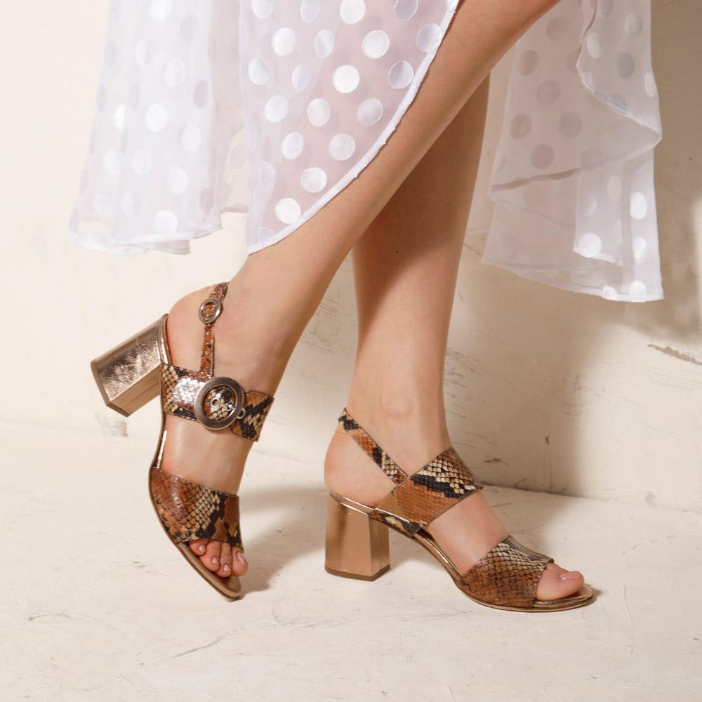 Sandaletten aus Leder mit Blockabsatz