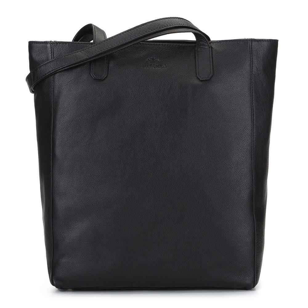 Czarna skórzana torba tote