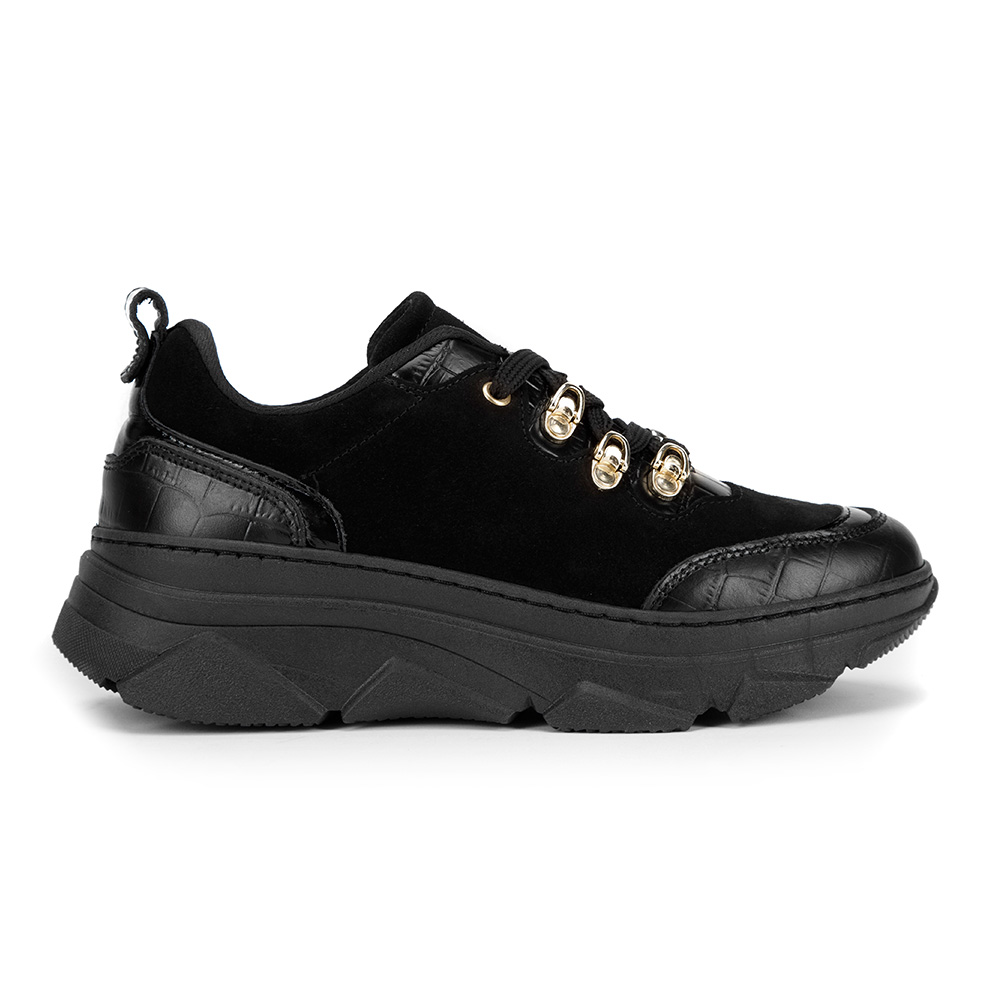 Damskie sneakersy ze skóry zamszowej i croco